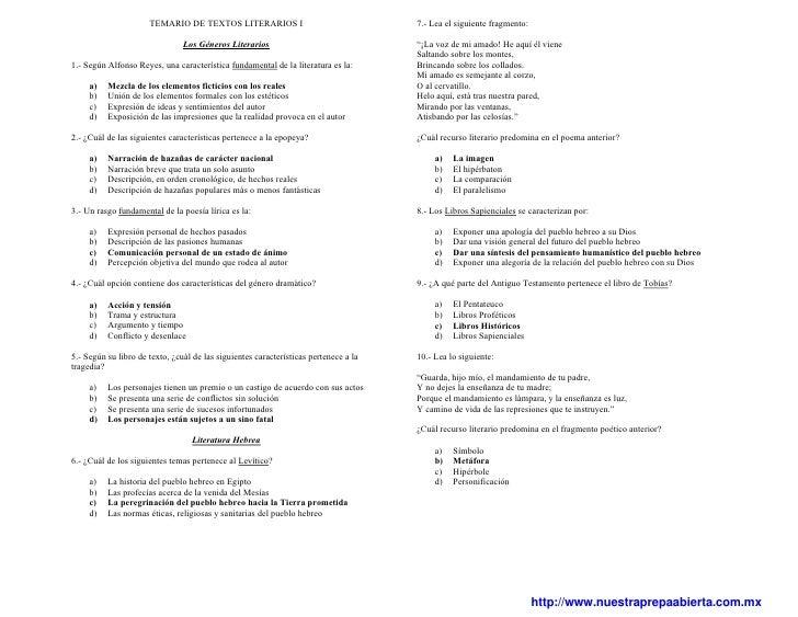 TEMARIO DE TEXTOS LITERARIOS I                                  7.- Lea el siguiente fragmento:                           ...