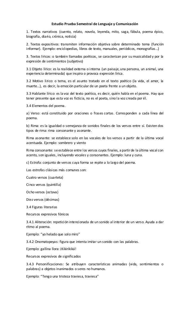 Estudio Prueba Semestral de Lenguaje y Comunicación 1. Textos narrativos (cuento, relato, novela, leyenda, mito, saga, fáb...