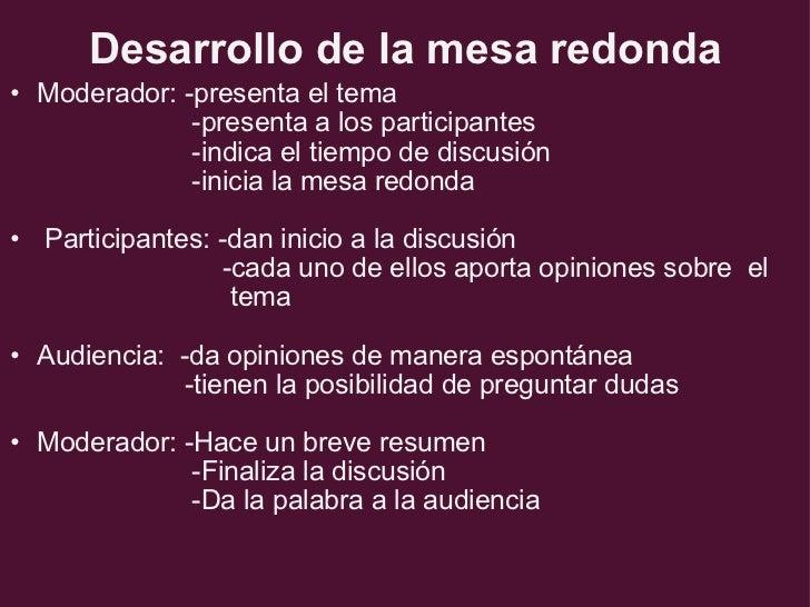 Textos orales debate coloquio y mesa redonda power point - Que es mesa redonda ...