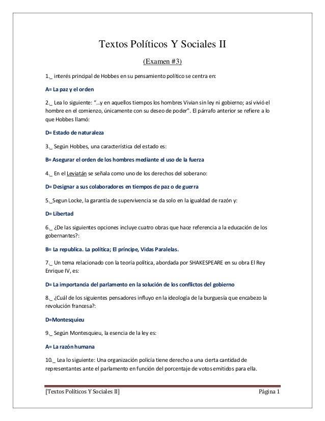 Textos Políticos Y Sociales II (Examen #3) 1._ interés principal de Hobbes en su pensamiento político se centra en: A= La ...