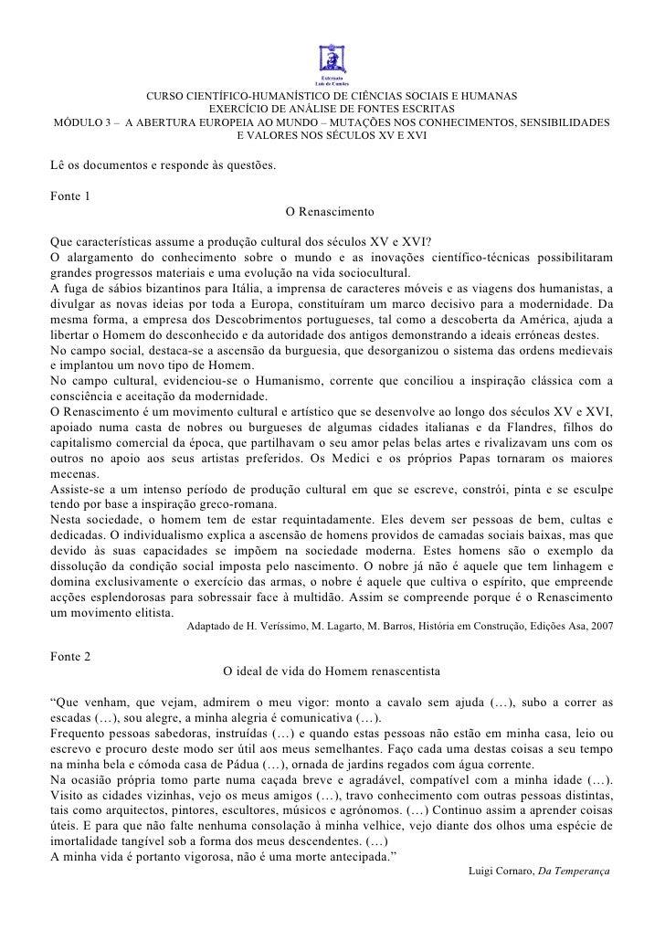 CURSO CIENTÍFICO-HUMANÍSTICO DE CIÊNCIAS SOCIAIS E HUMANAS                         EXERCÍCIO DE ANÁLISE DE FONTES ESCRITAS...