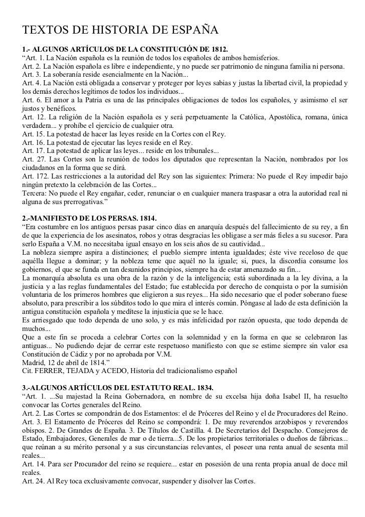 """TEXTOS DE HISTORIA DE ESPAÑA 1.- ALGUNOS ARTÍCULOS DE LA CONSTITUCIÓN DE 1812. """"Art. 1. La Nación española es la reunión d..."""