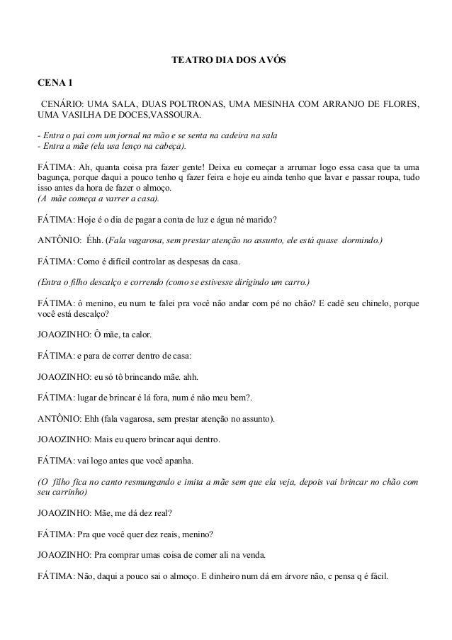 TEATRO DIA DOS AVÓS CENA 1 CENÁRIO: UMA SALA, DUAS POLTRONAS, UMA MESINHA COM ARRANJO DE FLORES, UMA VASILHA DE DOCES,VASS...
