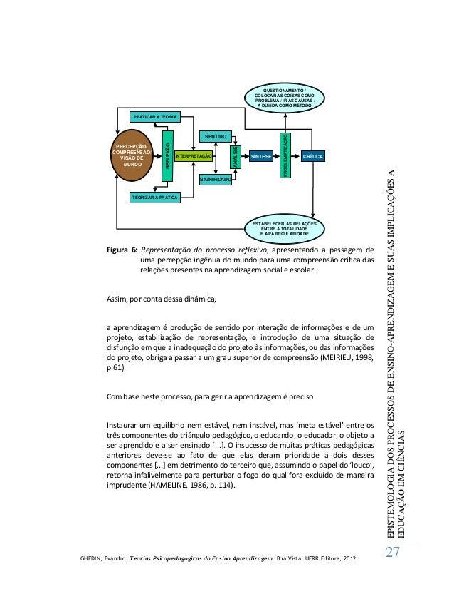 GHEDIN, Evandro. Teorias Psicopedagogicas do Ensino Aprendizagem. Boa Vista: UERR Editora, 2012. EPISTEMOLOGIADOSPROCESSOS...