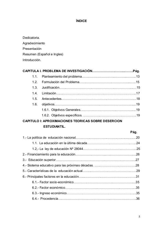 ÍNDICE Dedicatoria. Agradecimiento Presentación Resumen (Español e Ingles) Introducción. CAPITULA I. PROBLEMA DE INVESTIGA...