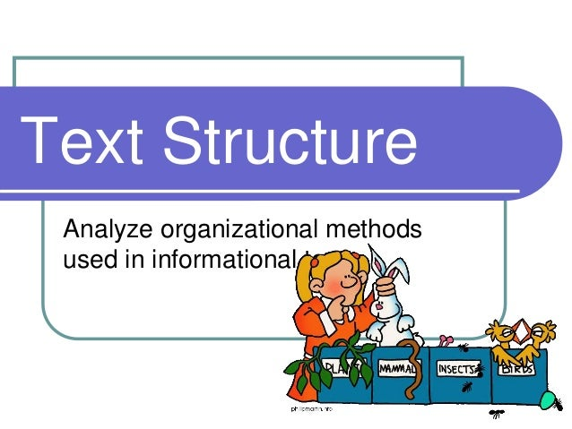Text Structure Analyze organizational methods used in informational texts