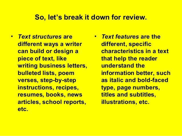 Text Structures V Text Features