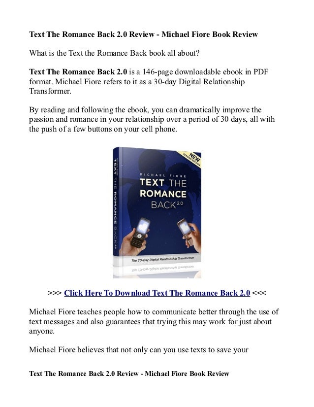 eb25037893c Text The Romance Back 2.0 Review - Michael Fiore Book Review