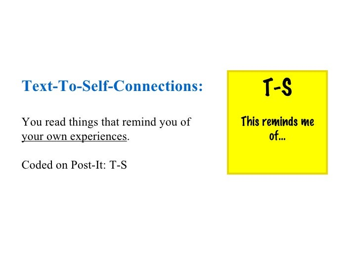 Text-To-Self-Connections: You read things that remind you of  your own experiences . Coded on Post-It: T-S T-S This remind...