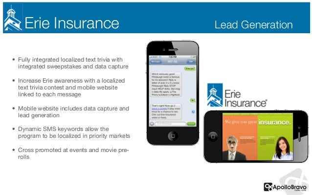 Erie Insurance Lead Generation • Fully integrated localized text trivia with integrated sweepstakes and data capture  • In...