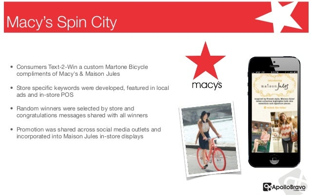 • Consumers Text-2-Win acustomMartoneBicycle compliments of Macy's &Maison Jules  • Store specific keywords were develo...