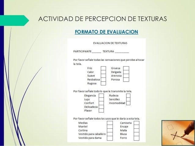 FORMATO DE EVALUACION ACTIVIDAD DE PERCEPCION DE TEXTURAS