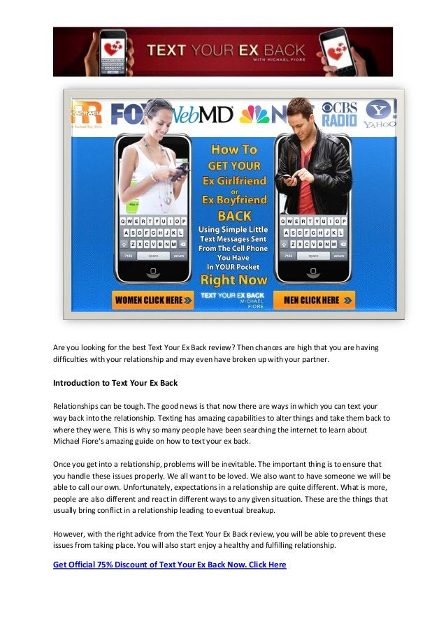 Are you looking for the best Text Your Ex Back review? Then chances are high that you are havingdifficulties with your rel...