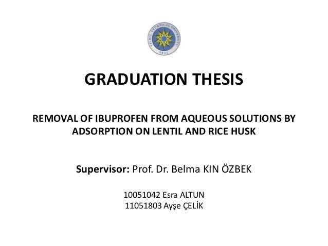 GRADUATION THESIS REMOVAL OF IBUPROFEN FROM AQUEOUS SOLUTIONS BY ADSORPTION ON LENTIL AND RICE HUSK Supervisor: Prof. Dr. ...