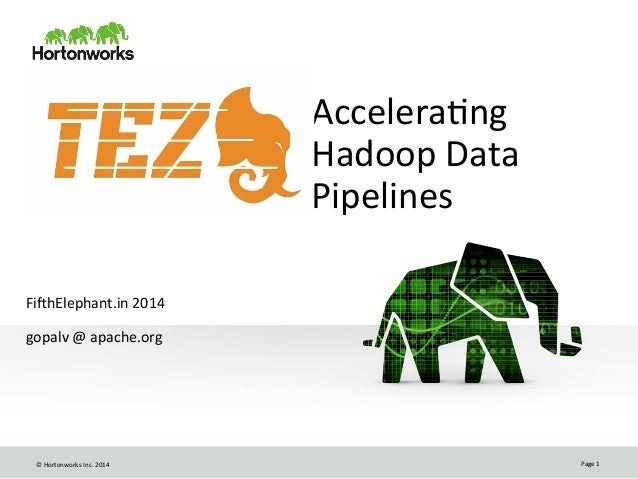 ©	   Hortonworks	   Inc.	   2014	    Page	   1	    Accelera8ng	    Hadoop	   Data	    Pipelines	    	    	    Fi>hElephant...