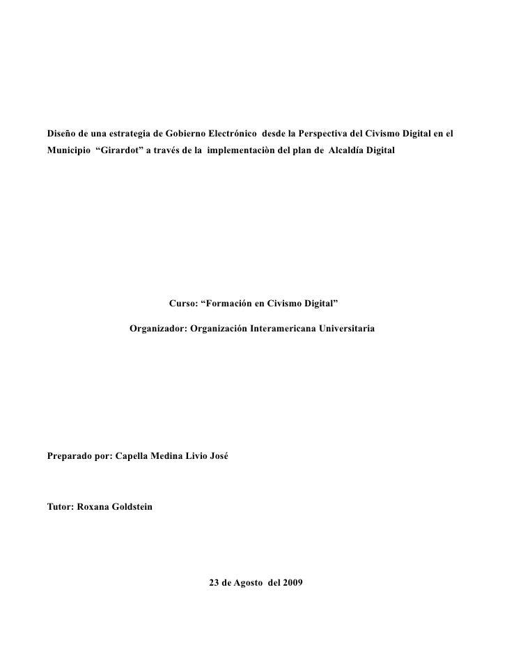 """Diseño de una estrategia de Gobierno Electrónico desde la Perspectiva del Civismo Digital en el Municipio """"Girardot"""" a tra..."""