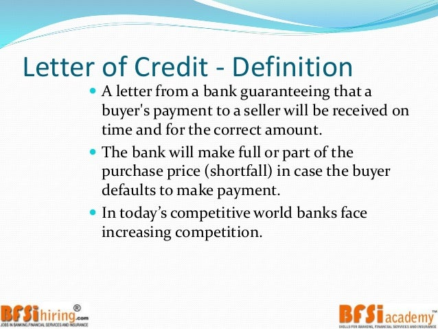 Trade Finance : Letter Of Credit