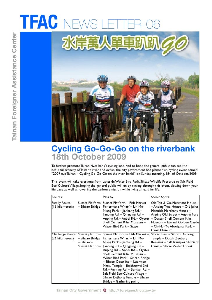 TFAC NEWS LETTER-06 Tainan Foreigner Assistance Center                                              Cycling Go-Go-Go on th...