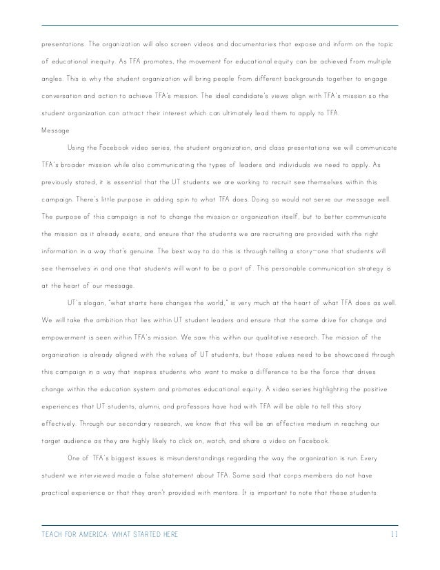 Teach for america essay