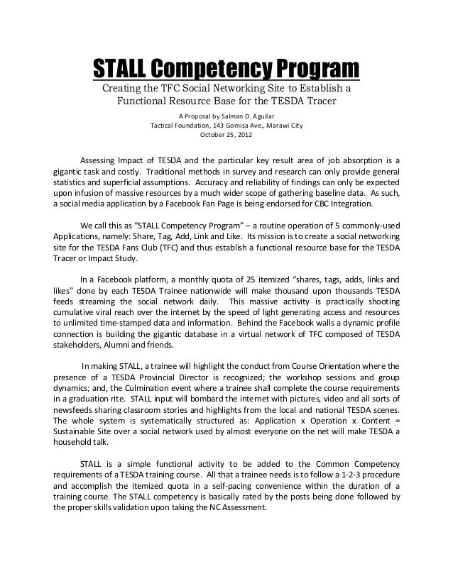 STALL Competency Program Creating the TFC Social Networking Site to Establish a Functional Resource Base for the TESDA Tra...