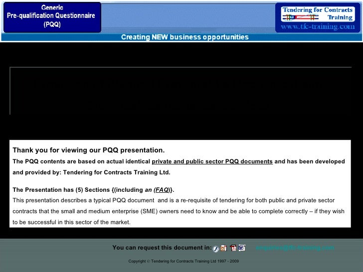 Copyright  ©  Tendering for Contracts Training Ltd 1997 - 2009 Provision of Planned Preventative Mechanical and  Electrica...
