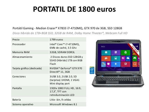 PORTATIL DE 1800 euros Portátil Gaming - Medion Erazer® X7833 i7-4710MQ, GTX 970 de 3GB, SSD 128GB Disco híbrido de 1TB+8G...