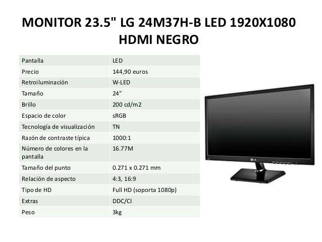 """MONITOR 23.5"""" LG 24M37H-B LED 1920X1080 HDMI NEGRO Pantalla LED Precio 144,90 euros Retroiluminación W-LED Tamaño 24"""" Bril..."""