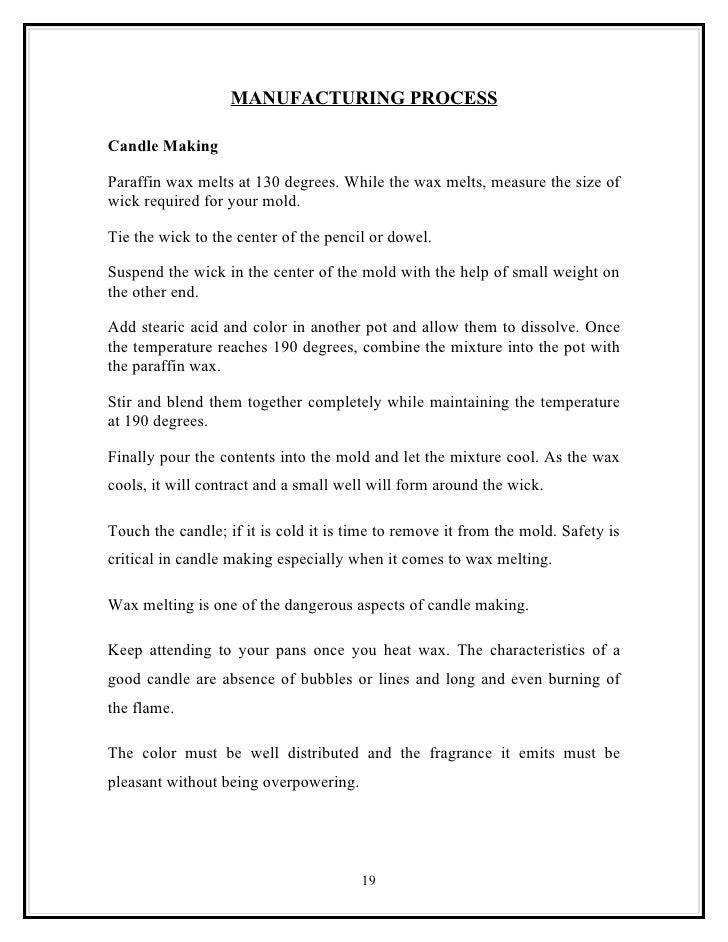 candle making business plan example
