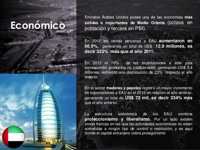 Económico  Emiratos Árabes Unidos posee una de las economías más sólidas e importantes de Medio Oriente (octava en  poblac...