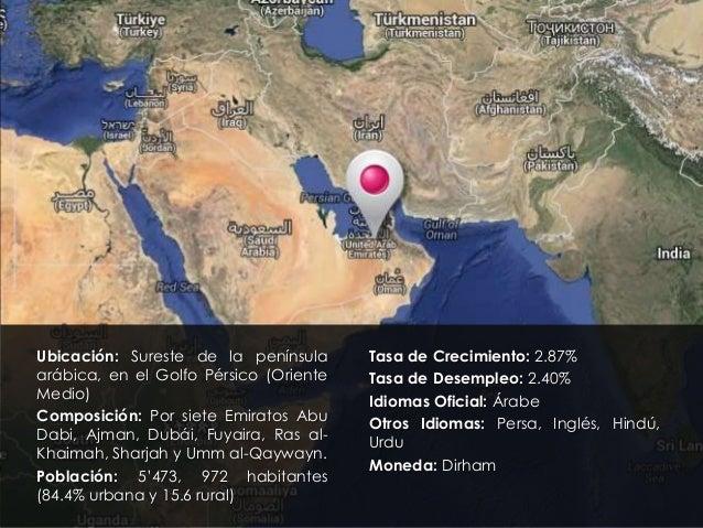 Ubicación: Sureste de la península arábica, en el Golfo Pérsico (Oriente Medio) Composición: Por siete Emiratos Abu Dabi, ...