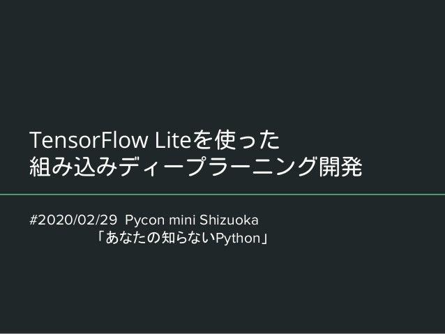 TensorFlow Lite #2020/02/29 Pycon mini Shizuoka        「あなたの知らないPython」