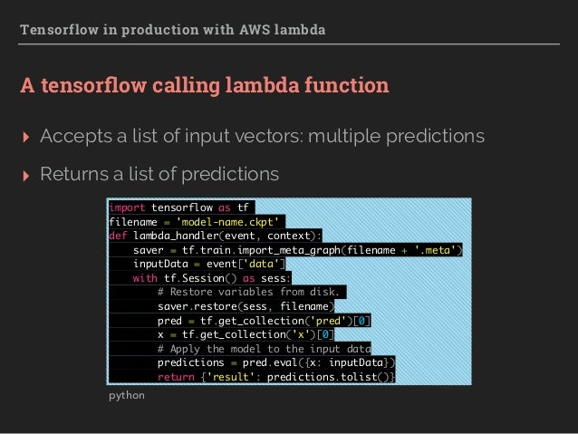Tensorflow in production with AWS Lambda