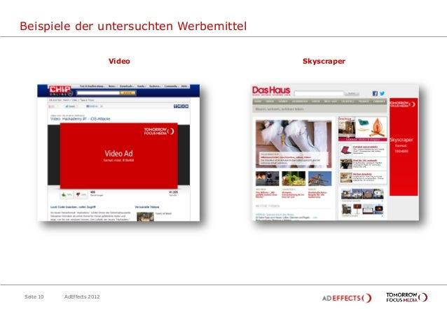Beispiele der untersuchten Werbemittel                            Video        SkyscraperSeite 10   AdEffects 2012