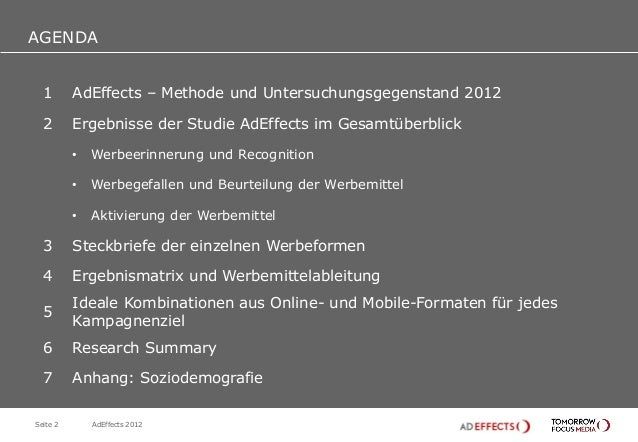 AGENDAAGENDA  1       AdEffects – Methode und Untersuchungsgegenstand 2012  2       Ergebnisse der Studie AdEffects im Ges...