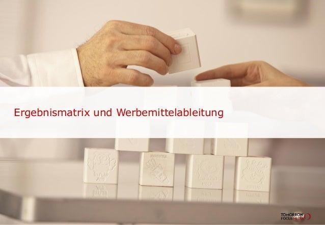 Ergebnismatrix und Werbemittelableitung