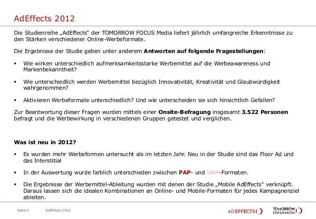 """AdEffects 2012Die Studienreihe """"AdEffects"""" der TOMORROW FOCUS Media liefert jährlich umfangreiche Erkenntnisse zuden Stärk..."""