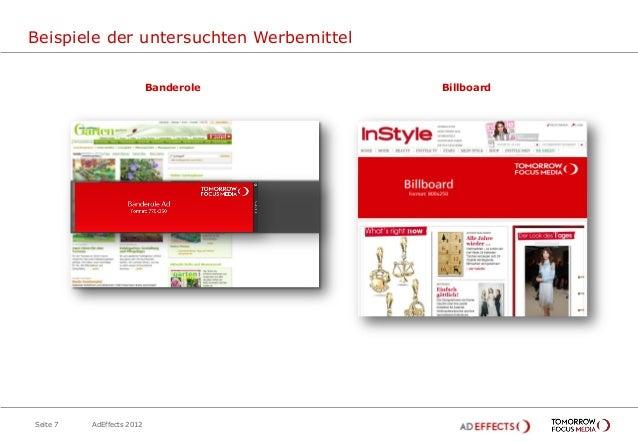 Beispiele der untersuchten Werbemittel                           Banderole     BillboardSeite 7   AdEffects 2012