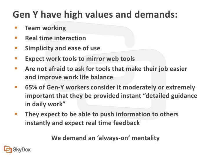 Gen Y have high values and demands:   Team working   Real time interaction   Simplicity and ease of use   Expect work ...