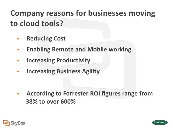 Company reasons for businesses movingto cloud tools?    Reducing Cost    Enabling Remote and Mobile working    Increasi...