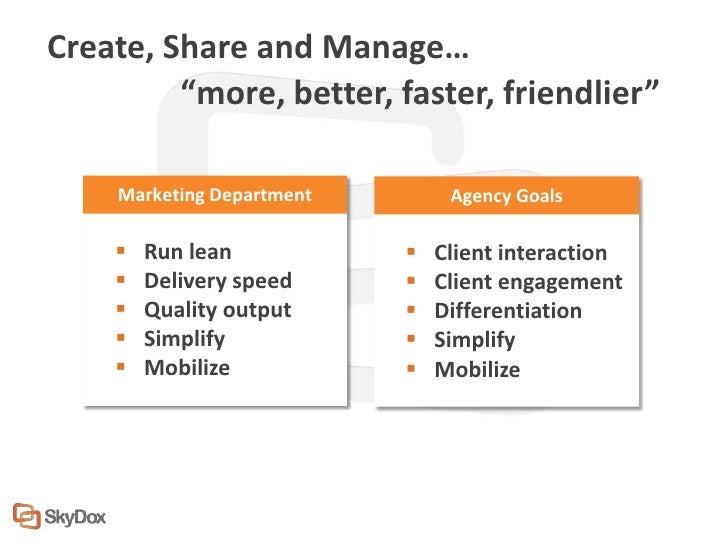 """Create, Share and Manage…         """"more, better, faster, friendlier""""    Marketing Department        Agency Goals       Ru..."""
