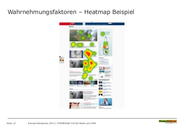Wahrnehmungsfaktoren – Heatmap Beispiel Seite 12 Exklusivitätsstudie 2013 | TOMORROW FOCUS Media und HMS