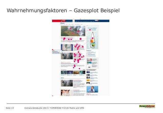 Wahrnehmungsfaktoren – Gazesplot Beispiel Seite 13 Exklusivitätsstudie 2013 | TOMORROW FOCUS Media und HMS
