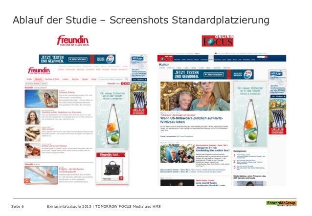 Ablauf der Studie – Screenshots Standardplatzierung Seite 6 Exklusivitätsstudie 2013 | TOMORROW FOCUS Media und HMS