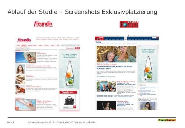 Ablauf der Studie – Screenshots Exklusivplatzierung Seite 7 Exklusivitätsstudie 2013 | TOMORROW FOCUS Media und HMS