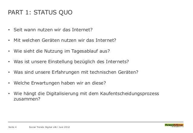PART 1: STATUS QUO • Seit wann nutzen wir das Internet? • Mit welchen Geräten nutzen wir das Internet? • Wie sieht die Nut...