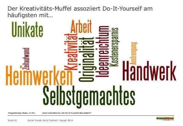 Der Kreativitäts-Muffel assoziiert Do-It-Yourself am häufigsten mit… Seite 31 Social Trends Do-It-Yourself l Januar 2014 F...