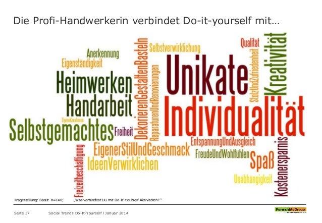 Die Profi-Handwerkerin verbindet Do-it-yourself mit… Seite 37 Social Trends Do-It-Yourself l Januar 2014 Fragestellung: Ba...