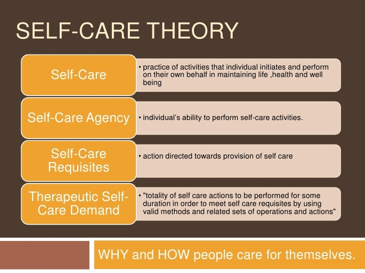 dorothea orem' self care deficit theory of Nurs sci q 2000 apr13(2):104-10 orem's self-care deficit nursing theory: its  philosophic foundation and the state of the science taylor sg(1), geden e,.