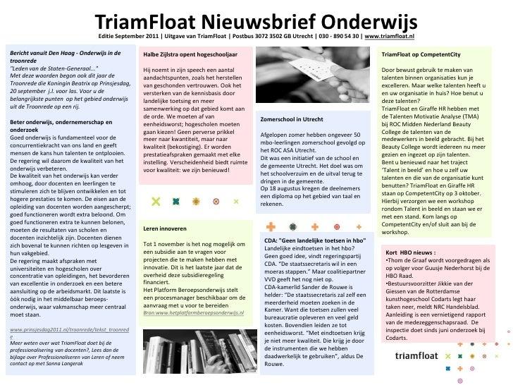 TriamFloat Nieuwsbrief Onderwijs                                    Editie September 2011   Uitgave van TriamFloat   Postb...