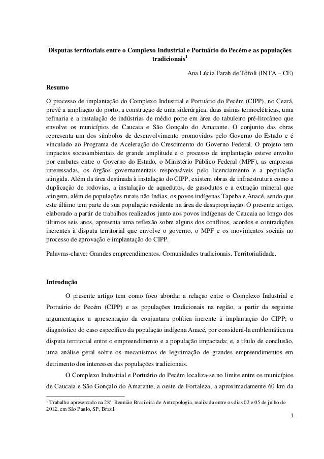 Disputas territoriais entre o Complexo Industrial e Portuário do Pecém e as populações                                    ...